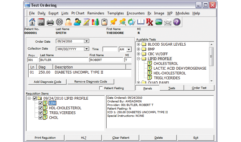 Electronic Medical Records - Test Ordering