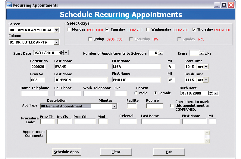 Appointment Scheduling - Recurring Appointment