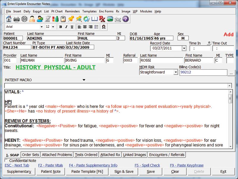 Electronic Medical Records - Enter Encounter Note